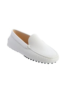 Tod's white perforated leather loafers