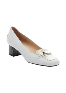 Tod's white suede and patent leather loafer pumps
