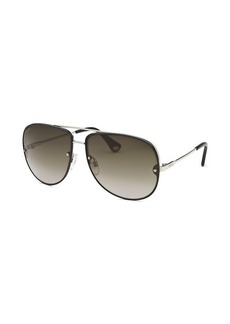 Tod's Women's Aviator Black and Silver Tone Sunglasses