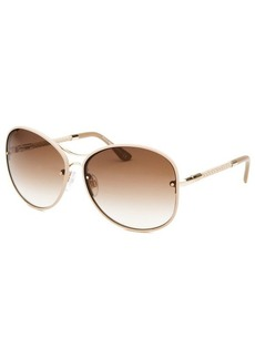 Tod's Women's Beige and Gold-Tone Round Sunglasses