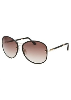 Tod's Women's Black and Gold-Tone Round Sunglasses
