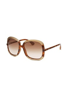 Tod's Women's Butterfly Havana and Gold-Tone Sunglasses