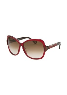 Tod's Women's Butterfly Red and Dark Brown Sunglasses