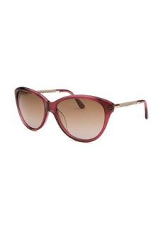 Tod's Women's Cat Eye Translucent Dark Pink Sunglasses