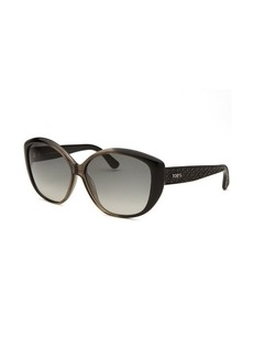 Tod's Women's Oversized Grey and Black Sunglasses