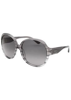 Tod's Women's Oversized Striped Translucent Grey Sunglasses