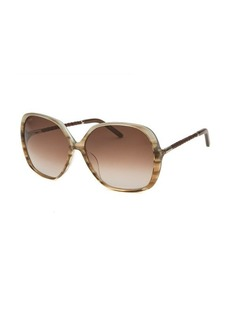 Tod's Women's Oversized Translucent Striped Brown Gradient Sunglasses