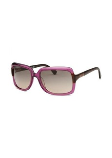 Tod's Women's Rectangle Translucent Purple Dark Havana Arms Sunglasses