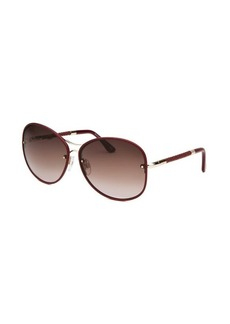 Tod's Women's Round Burgundy Sunglasses