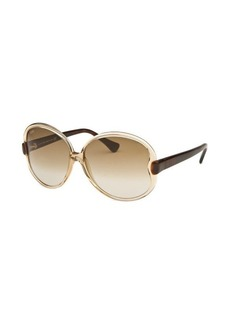 Tod's Women's Round Translucent Light Yellow and Havana Sunglasses