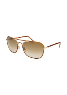 Tod's Women's Square Aviator Havana Sunglasses Gold-Tone Accent