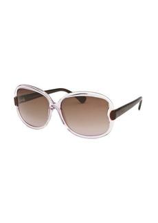Tod's Women's Square Translucent Purple and Havana Sunglasses