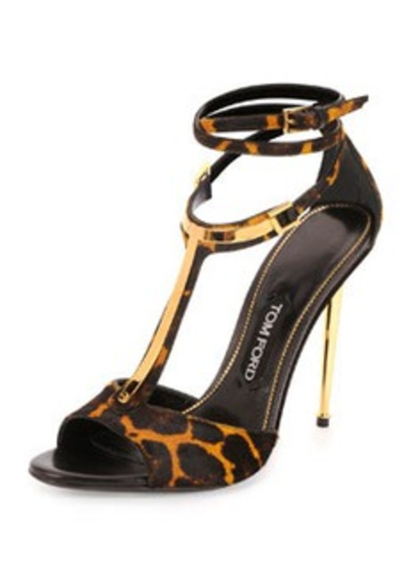 tom ford tom ford leopard print calf hair t bar sandal