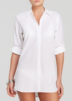 Tommy Bahama Crinkle Cotton Boyfriend Shirt Swim Cover Up
