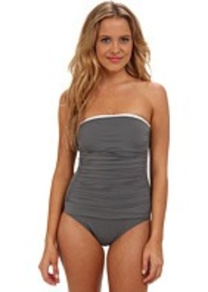 Tommy Bahama Deck Piping Shirred Bandeau Cup One-Piece