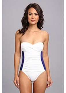 Tommy Bahama Deck Piping Twist Front Bandeau One-Piece