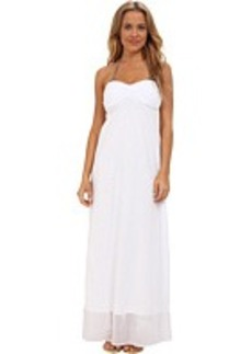 Tommy Bahama Knit & Chiffon Shirred Bandeau Long Maxi Dress Cover-Up