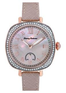 Tommy Bahama 'Lokelani' Crystal Bezel Leather Strap Watch, 32mm