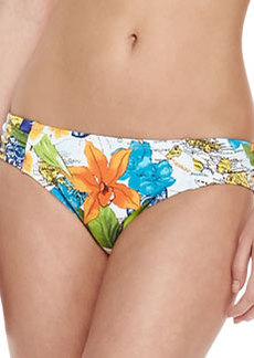 Tommy Bahama Map & Floral-Print Shirred Hipster  Swim Bottoms