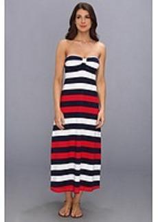 Tommy Bahama Mare Rugby Striped Tea Length Bandeau Dress