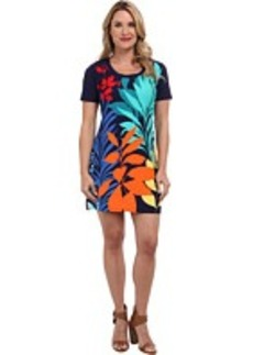 Tommy Bahama Tropical Leaf Engineered Short Fitted T-Shirt Dress Cover-Up