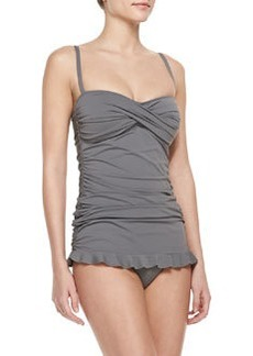 Tommy Bahama Twisted-Bandeau Shirred One-Piece Swimdress