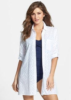 Tommy Bahama 'Woven Medallion' High/Low Cover-Up Boyfriend Shirt