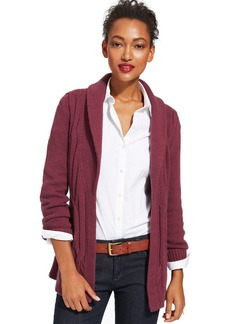 Tommy Hilfiger Belted Cable-Knit Open-Front Cardigan