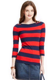 Tommy Hilfiger Button-Shoulder Rugby-Striped Top