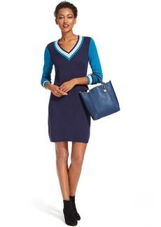 Tommy Hilfiger Colorblocked Contrast-Trim V-Neck Sweaterdress