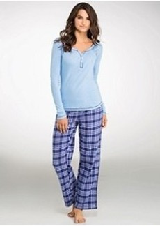 Tommy Hilfiger Knit Henley and Flannel Pajama Set