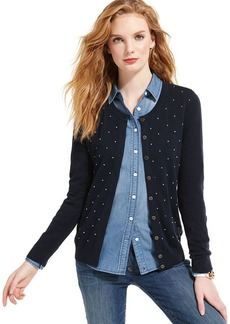 Tommy Hilfiger Long-Sleeve Button-Front Polka-Dot Cardigan