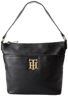 Tommy Hilfiger Monogrammed Pebble Bucket Hobo Handbag