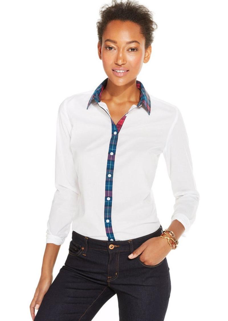 tommy hilfiger plaid trim button down shirt shop it to. Black Bedroom Furniture Sets. Home Design Ideas