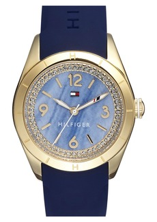 Tommy Hilfiger Semiprecious Stone Dial Silicone Strap Watch, 30mm