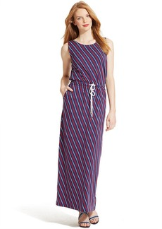 Tommy Hilfiger Sleeveless Striped Drawstring Maxi Dress