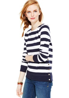 Tommy Hilfiger Striped Button-Trim Sweater