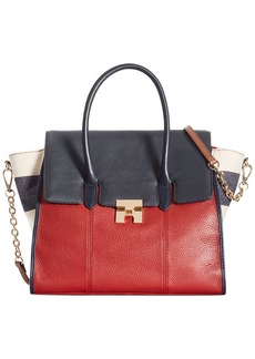 Tommy Hilfiger TH Turnlock Mixed Media Convertible Top Handle