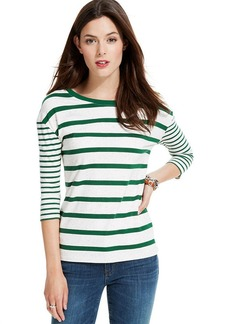 Tommy Hilfiger Three-Quarter-Sleeve Mixed-Stripe Tee