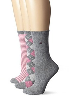 Tommy Hilfiger Women's Three-Pack Argyle-Stripe Crew Socks