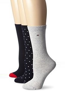 Tommy Hilfiger Women's 3 Pack Pindot Heel And Toe Crew Sock