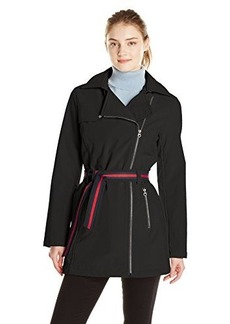 Tommy Hilfiger Women's Asymmetrical Zip Softshell Jacket with Belt