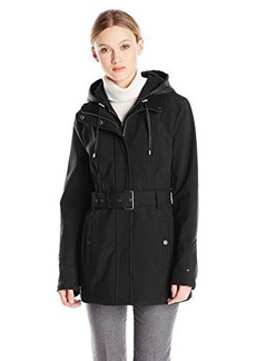 Tommy Hilfiger Women's Belted Softshell Jacket with Hood