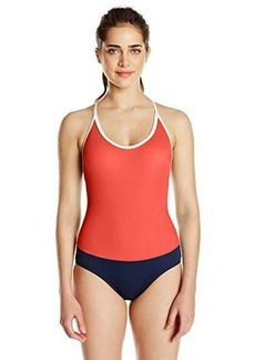 Tommy Hilfiger Women's Color Block Cross Back One Piece Swimsuit