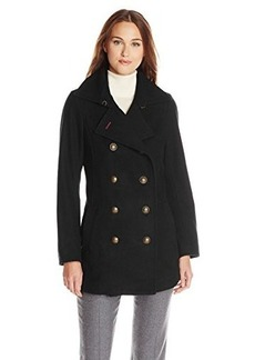 Tommy Hilfiger Women's Double-Breasted Peacoat with Gold-Tone Buttons