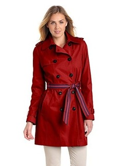Tommy Hilfiger Women's Double-Breasted Trench Coat with Striped Belt