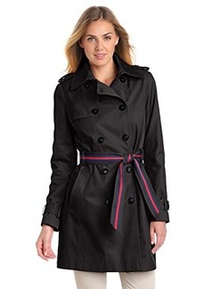 Tommy Hilfiger Women's Double Breasted Trench Coat with Striped Belt