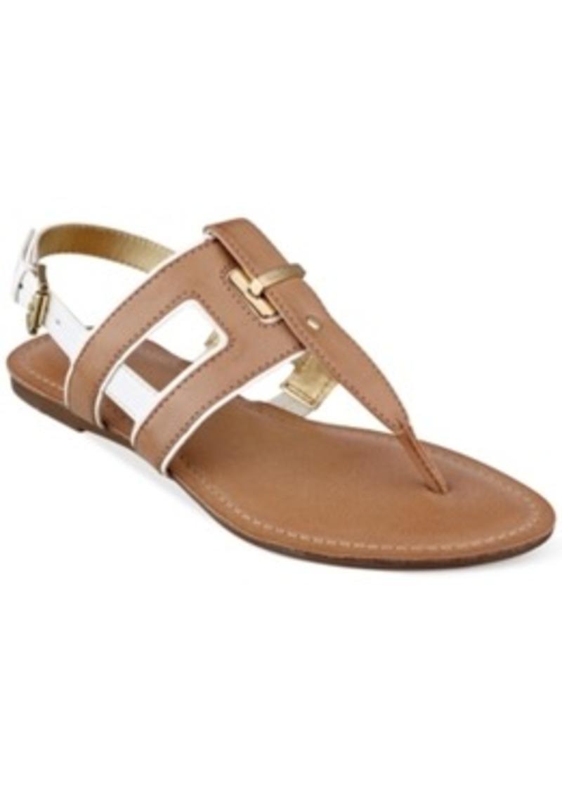 Elegant Tommy Hilfiger Womens Lorine Flat Thong Sandals In Metallic  Lyst