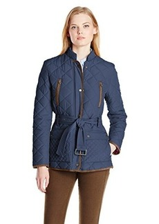 Tommy Hilfiger Women's Quilted Faux Suede Trimmed Belted Jacket