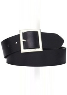 Tommy Hilfiger Women's Square Buckle Wide Brown Leather Belt